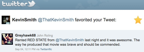 Kevin Smith favorites my tweet on Twitter